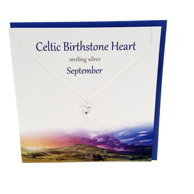 September Celtic Birthstone Sapphire crystal silver necklace | The Silver Studio Scotland