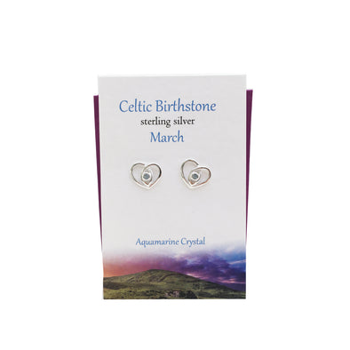Celtic Birthstone Heart March silver stud earrings | The Silver Studio