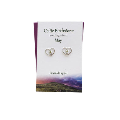Celtic Birthstone Heart May silver stud earrings | The Silver Studio