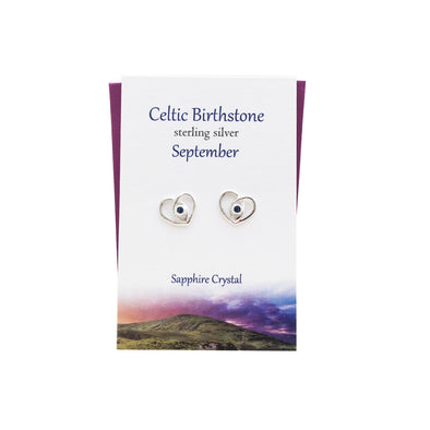 Celtic Birthstone Heart September silver stud earrings | The Silver Studio