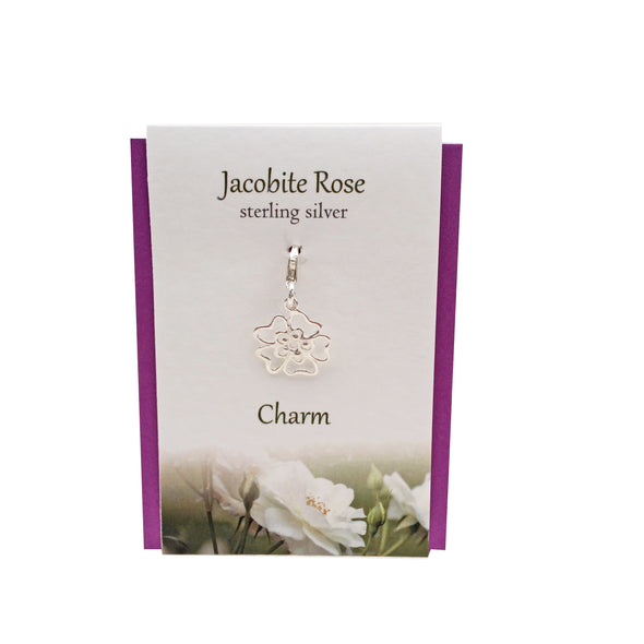 Jacobite Rose charm | Silver clip on charm| The Silver Studio Scotland
