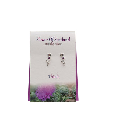 Flower of Scotland Thistle silver stud earrings| The Silver Studio Scotland