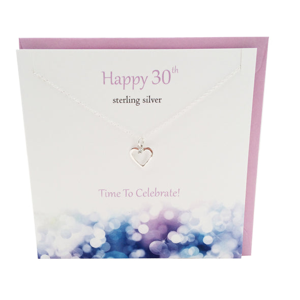 Happy 30th Birthday silver heart necklace | The Silver Studio Scotland