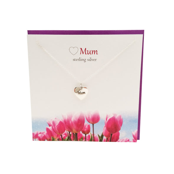 Love Mum silver heart necklace | The Silver Studio Scotland