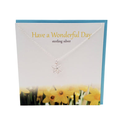 Have a Wonderful day silver Daffodil necklace | The Silver Studio Scotland