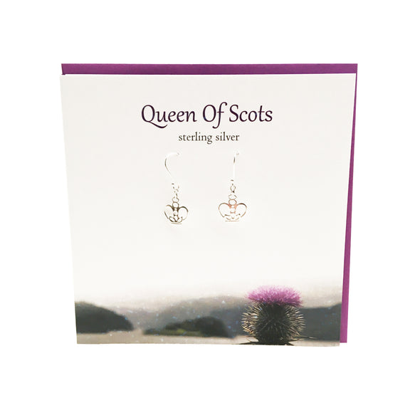 Queen of Scots Scottish crown silver earrings | The Silver Studio