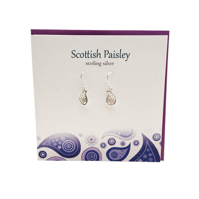 Scottish Paisley pattern sterling silver earrings | The Silver Studio