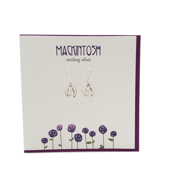 Rennie Mackintosh Inspired Scottish Rose silver earrings | The Silver
