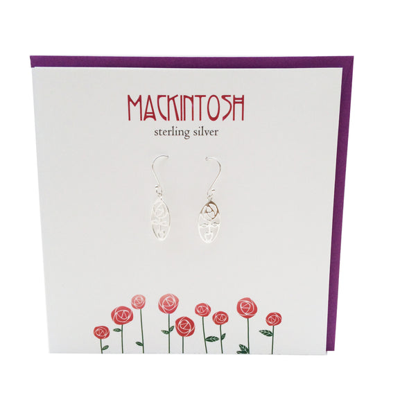 Rennie Mackintosh Inspired Scottish oval Rose silver earrings