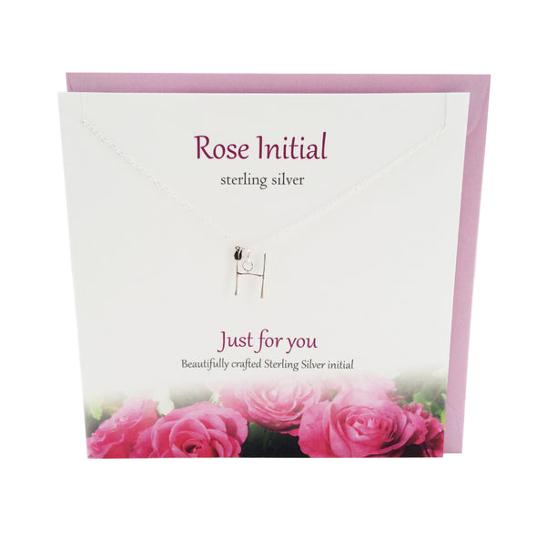 Rose Initial 'H' silver necklace | The Silver Studio