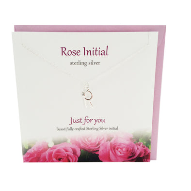 Rose Initial 'R' silver necklace | The Silver Studio