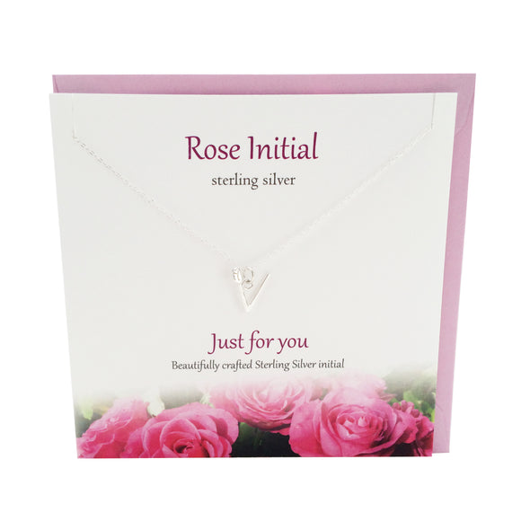 Rose Initial 'V' silver necklace | The Silver Studio