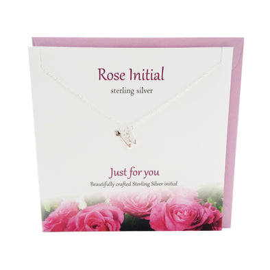 Rose Initial 'W' silver necklace | The Silver Studio