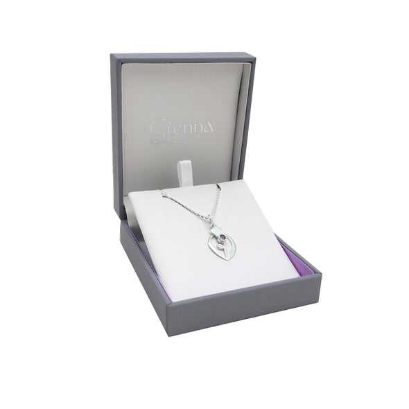 Scottish Thistle Purple Amethyst Crystal silver pendant | Glenna Jewellery Scotland