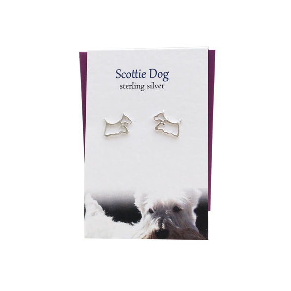Scottie Dog silver stud earrings| The Silver Studio Scotland