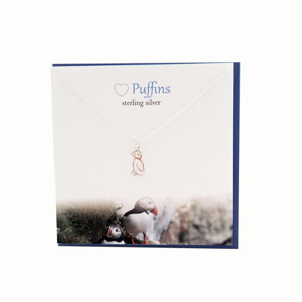 Puffin sterling silver necklace | The Silver Studio Scotland