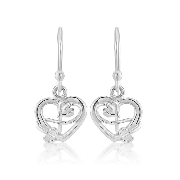 Sweetheart Drop Silver Earrings Small| Glenna Jewellery Scotland
