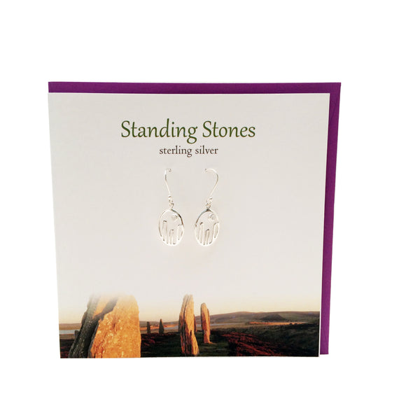 Standing stones Scotland silver earrings with moonstone | The Silver Studio
