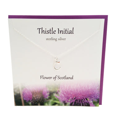 Thistle  Initial 'C' silver necklace | The Silver Studio Scotland
