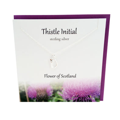 Thistle  Initial 'D' silver necklace | The Silver Studio Scotland
