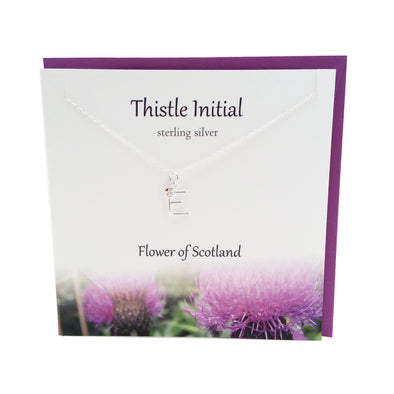 Thistle  Initial 'E' silver necklace | The Silver Studio Scotland