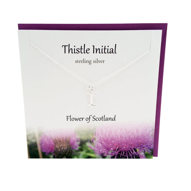 Thistle  Initial 'I' silver necklace | The Silver Studio Scotland