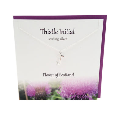Thistle  Initial 'J' silver necklace | The Silver Studio Scotland