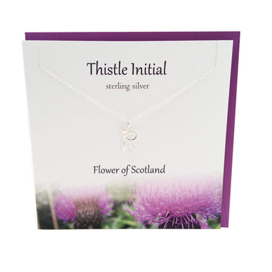 Thistle  Initial 'R' silver necklace | The Silver Studio Scotland