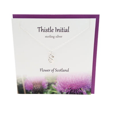 Thistle  Initial 'S' silver necklace | The Silver Studio Scotland