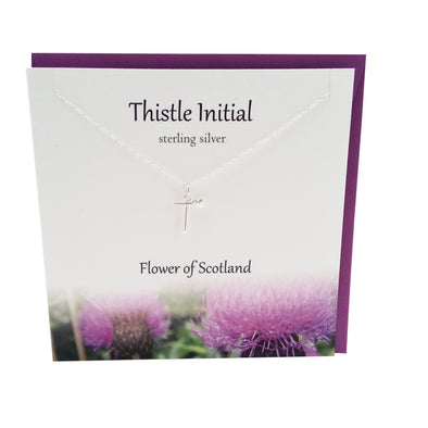 Thistle  Initial 'T' silver necklace | The Silver Studio Scotland