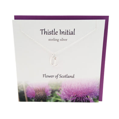 Thistle  Initial 'U' silver necklace | The Silver Studio Scotland