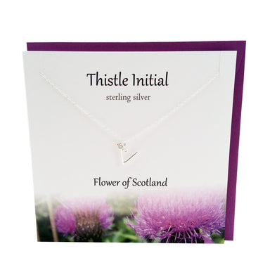 Thistle  Initial 'V' silver necklace | The Silver Studio Scotland