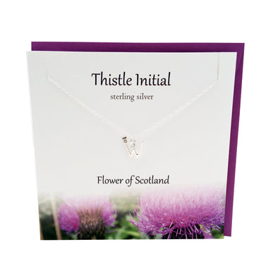 Thistle  Initial 'W' silver necklace | The Silver Studio Scotland