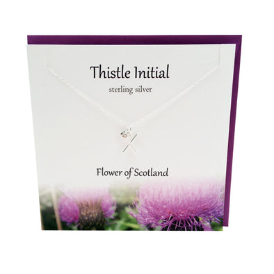 Thistle  Initial 'X' silver necklace | The Silver Studio Scotland