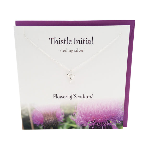 Thistle  Initial 'Y' silver necklace | The Silver Studio Scotland