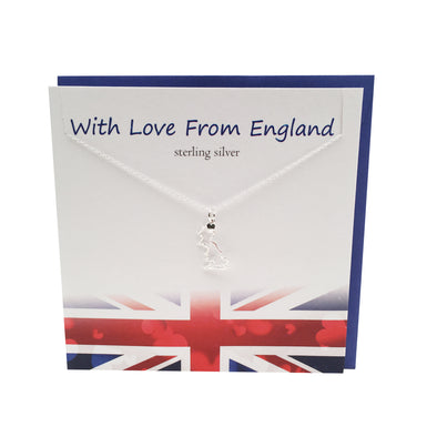 Love Great Britain Map silver necklace | The Silver Studio Great Britain
