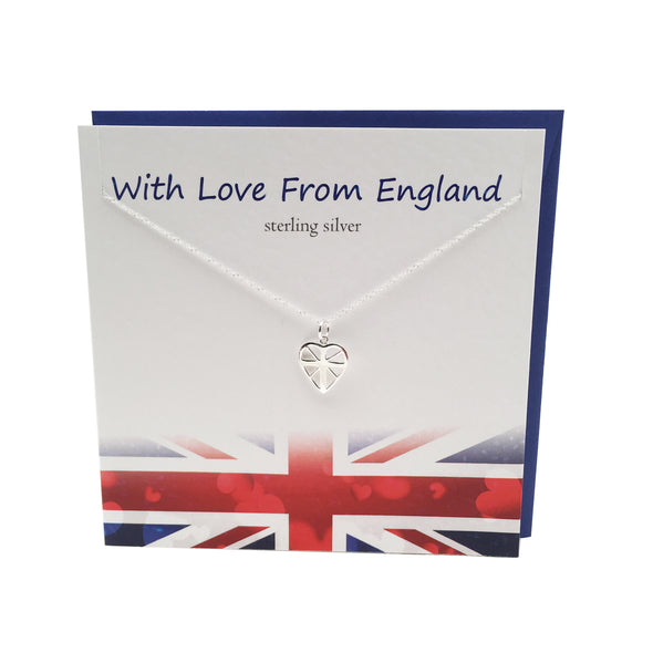 Great British Union Jack silver heart necklace | The Silver Studio