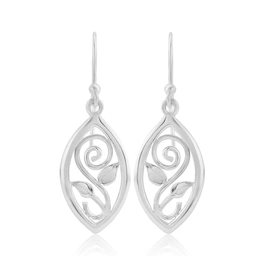 Scottish Woodland Garden silver medium drop earrings | Glenna Jewellery Scotland