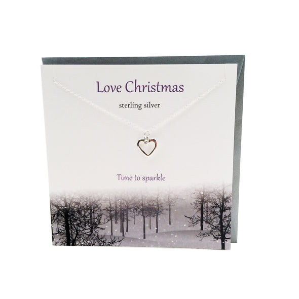 Love Christmas  silver heart necklace | The Silver Studio Scotland