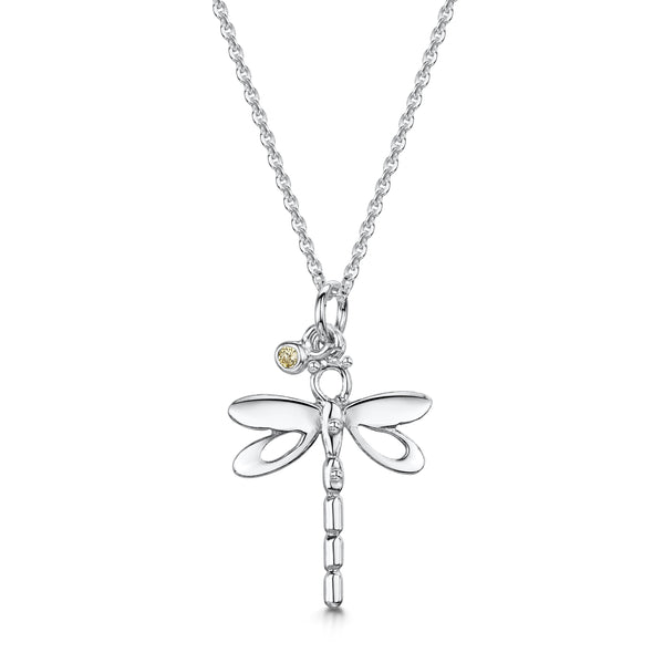 Dragonfly silver pendant with Amber Crystal| Glenna Jewellery Scotland