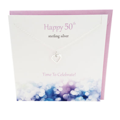 Happy 50th Birthday silver heart necklace | The Silver Studio Scotland