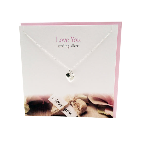 Love You silver heart necklace | The Silver Studio Scotland