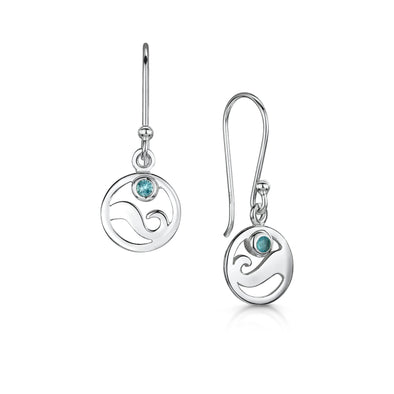 Scottish Coast Blue Crystal Silver Earrings