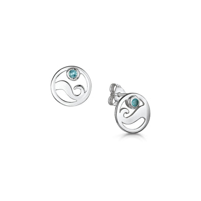 Scottish Coast Blue Crystal Silver Studs