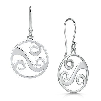 Scottish Coast Large Wave Silver Drop Earrings