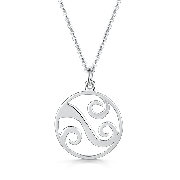 Scottish Coast Large Wave Silver Necklace