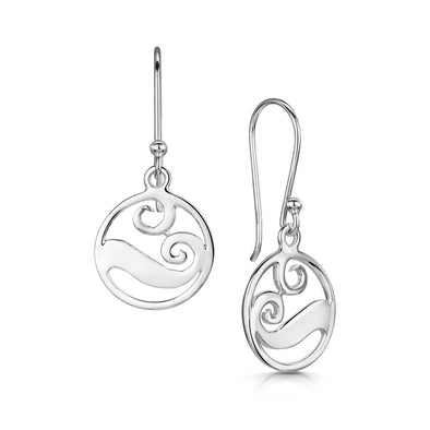Scottish Coast Small Wave Silver Drop Earrings