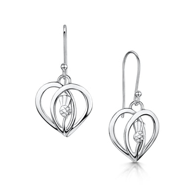 Scottish Thistle Heart silver drop earrings | Glenna Jewellery Scotland