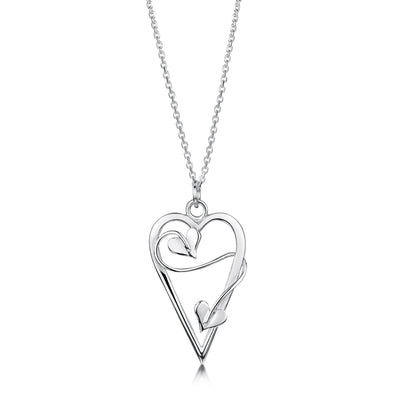 Sweetheart Long Drop Silver Pendant| Glenna Jewellery Scotland
