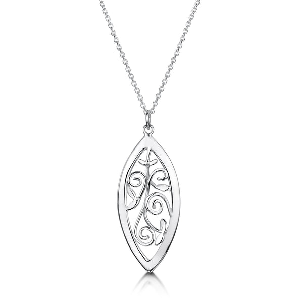 Scottish Woodland Garden silver long pendant | Glenna Jewellery Scotland